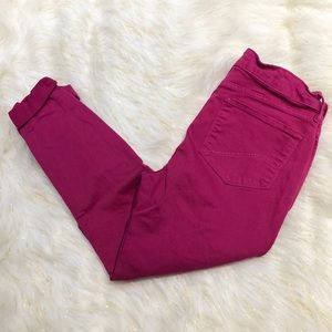 NYDJ Rachel Bright Pink Roll Cuff Ankle Jeans 8